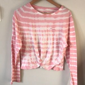 Pink twist knot front long sleeve top